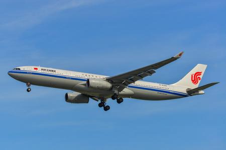 Singapore - Mar 27, 2019. B-8386 Air China Airbus A330-300 landing at Changi Airport (SIN). Changi hits record 65 million passengers in 2018.
