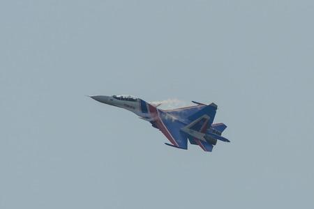 Langkawi, Malaysia - Mar 30, 2019. Su-30SM fighter jet belonging to the Russian Knights aerobatic demonstration team performing at Langkawi Airport (LGK).