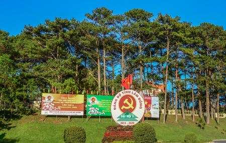 Dalat, Vietnam - Jan 25, 2016. Communist propaganda billboards in Dalat, Vietnam. Dalat is located in the South Central Highlands of Vietnam.