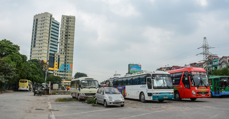 Hanoi, Vietnam - Oct 31, 2015. Long-distance bus station in Hanoi, Vietnam. Hanoi is one of the cities with very chaotic traffic conditions.