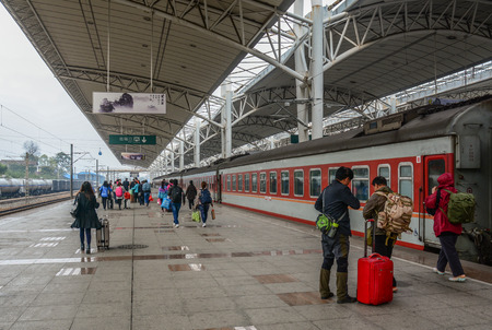 Nanning, China - Nov 1, 2015. Passengers at railway station in Nanning, China. Nanning is a transport gateway for travellers to and from Vietnam. 에디토리얼