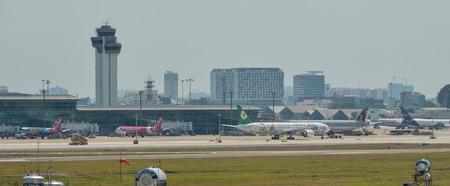 Saigon, Vietnam - Feb 25, 2019. Passenger airplanes docking at Tan Son Nhat Airport (SGN) in Saigon, Vietnam. 에디토리얼