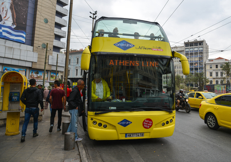 Athens, Greece - Oct 10, 2018. Double-deck tourist bus in Athens, Greece. Athens is a tourist attraction that loves history and archeology.