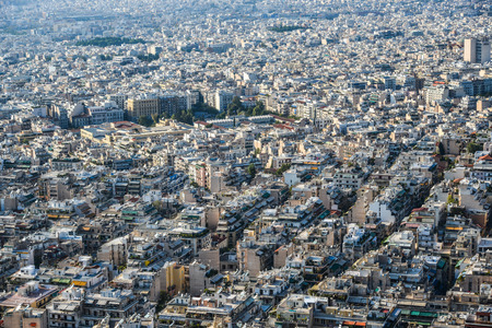 Aerial view of Athens, Greece. Athens is a tourist attraction that loves history and archeology.