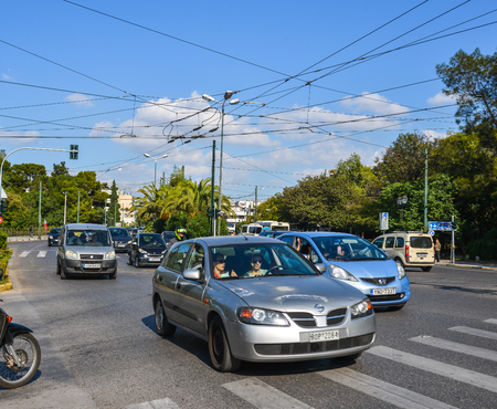 Athens, Greece - Oct 11, 2018. Street of Athens, Greece. Athens is a global city and one of the biggest economic centres in southeastern Europe. Editorial