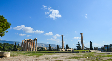 A unique and interesting view of the Temple of Olympian Zeus in Athens, Greece. 에디토리얼