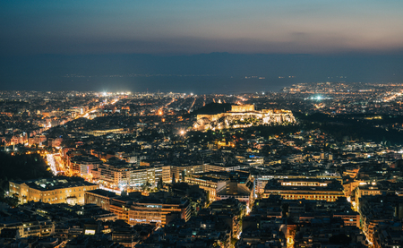 Night scene of Athens, Greece. Athens skyline at night viewed from Mount Lykavitos with Acropolis Hill. 에디토리얼