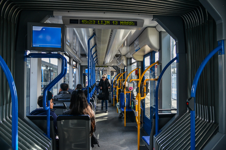 Amsterdam, Holland - Oct 7, 2018. Metro train in Amsterdam, Holland. The metro system consists of five routes and serves 39 stations, with a total length of 42.7km.. 에디토리얼