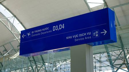 Dalat, Vietnam - Apr 20, 2018. Direction boards at Departure Hall of Lien Khuong Airport (DLI) in Dalat, Vietnam.