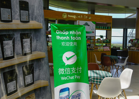Dalat, Vietnam - Apr 20, 2018. WeChat Pay at the shop of Lien Khuong Airport (DLI) in Dalat, Vietnam.