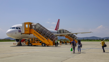 Dalat, Vietnam - Apr 20, 2018. An Airbus A320 airplane of Vietjet Air docking at Lien Khuong Airport (DLI) in Dalat, Vietnam.