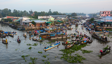 Soc Trang, Vietnam - Feb 2, 2016. Floating market in Nga Nam District, Soc Trang, Vietnam. Floating market is a very typical activity in Mekong Delta. Editorial