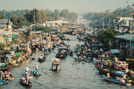 Soc Trang, Vietnam - Feb 2, 2016. Floating market in Nga Nam District, Soc Trang, Vietnam. Floating market is a very typical activity in Mekong Delta. Sajtókép