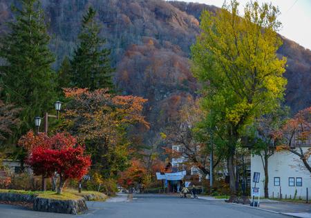 Aomori, Japan - Nov 5, 2019. Small town at autumn near Lake Towada in Aomori, Japan. Lake Towada is one of Japan most famous autumn color spots.