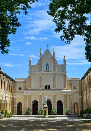 Lang Song Seminary in Binh Dinh, Vietnam. The seminary is the ancient Gothic architecture with sharp arches and many windows. Stockfoto