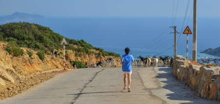 An Asian woman running or jogging away from the camera on a rural road. 免版税图像