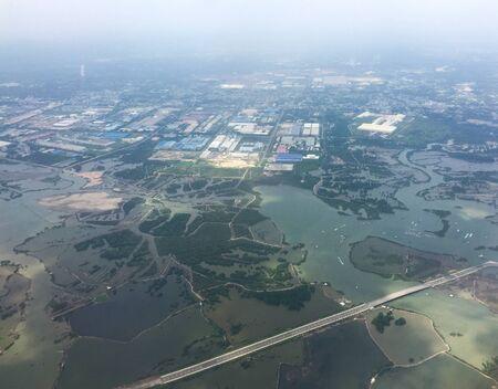 Flying over rural scenery at summer day in Mekong Delta, Vietnam. Stockfoto