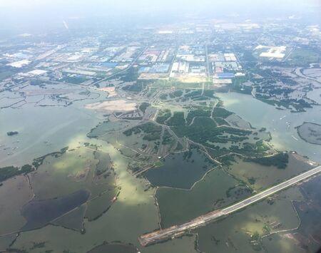 Flying over rural scenery at summer day in Mekong Delta, Vietnam.