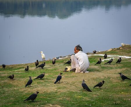 Agra, India - Nov 11, 2017. An Indian man feeding birds on riverbank in Agra, India. Most Indian people do not eat birds and wild animals.