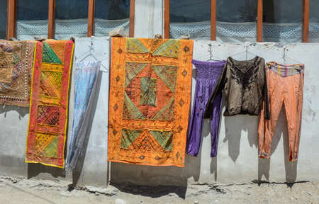 Textile for sale at local market in Leh Township, Ldakh, India.
