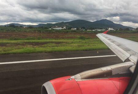 Turbojet engine of passenger airplane, view from airplane window. Standard-Bild
