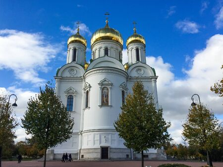 Ancient Cathedral of St. Catherine at Pushkin Town in Saint Petersburg, Russia. St. Catherine is the oldest Catholic church in the Russian Federation. Фото со стока