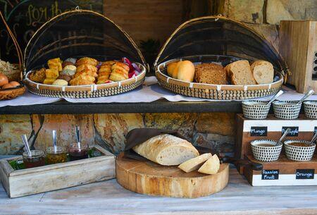Breakfast buffet (fresh bread with jams) at luxury resort in Phan Thiet, Vietnam.