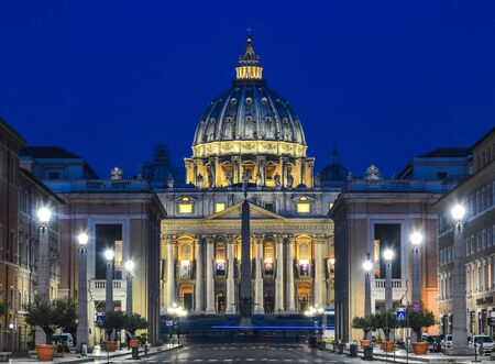 Rome, Italy - Oct 15, 2018. View of the Papal Basilica of St. Peter in the Vatican illuminated at night (St. Peter Cathedral) in Rome, Italy.