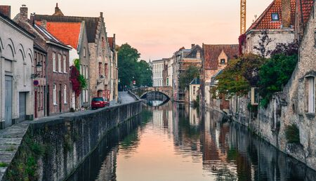 Beautiful Old Bruges cityscape in early morning. Bruges is a medieval fairy-tale town and Belgium most visited city with 7.8 million visitors every year.