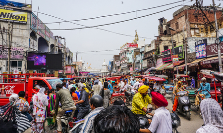 Amritsar, India - Jul 25, 2015. Street of Amritsar, India. Amritsar is a city in the northwestern Indian state of Punjab, 28 kilometers from the border with Pakistan.
