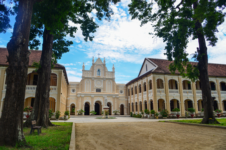 Binh Dinh, Vietnam - May 24, 2019. Lang Song Seminary in Binh Dinh, Vietnam. The seminary is the ancient Gothic architecture with sharp arches and many windows.