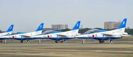Iruma, Japan - Nov 3, 2019. F-86 Sabres Blue Impulse Aerobatic Demonstration Team of the Japan Air Self-Defense Force (JASDF) in Iruma Air Base. 報道画像
