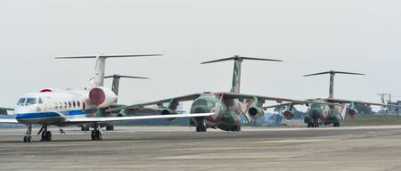 Saitama, Japan - Nov 3, 2019. Aircrafts of Air Self Defence Force (JASDF) taxiing on runway of Iruma Air Base (RJTJ) in Saitama, north of Tokyo, Japan. Editorial