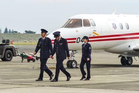 Saitama, Japan - Nov 3, 2019. Air crew of Japan Air Self Defense Force (JASDF) working at airfield of Iruma Air Base (RJTJ) in Saitama Prefecture, north of western Tokyo, Japan.