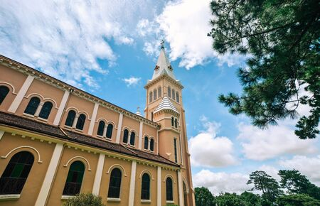 View of St. Nicholas Cathedral in Dalat, Vietnam. Dalat looks somewhat like a cross between Vietnam and rural France. Stock Photo