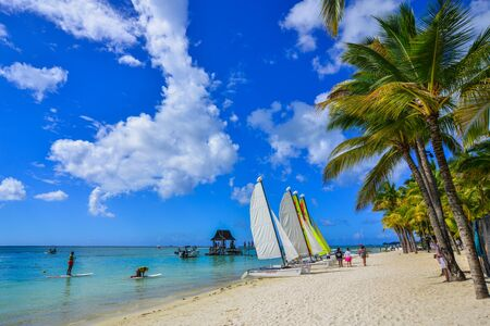 Grand-Baie, Mauritius - Jan 4, 2017. Beautiful seascape of Mauritius Island. Mauritius is one of the best destinations, known for its beaches, lagoons and reefs.