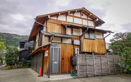 Wooden ancient house at old town in Kyoto, Japan. Kyoto served as Japan capital and the emperor residence from 794 until 1868. 写真素材