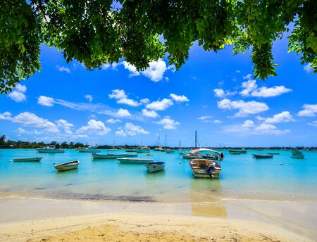Le Morne, Mauritius - Jan 4, 2017. Beautiful seascape of Mauritius Island. Mauritius is one of the best destinations,  known for its beaches, lagoons and reefs.