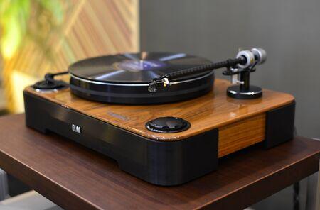 Saigon, Vietnam - Sep 29, 2019. Turntable vinyl record player for sale at the audio shop in downtown of Saigon, Vietnam.