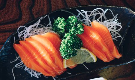 Red salmon sashimi at local restaurant in Kyoto, Japan.