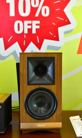 Saigon, Vietnam - Sep 29, 2019. Stereo speaker system for display at the store in downtown of Saigon (Ho Chi Minh City), Vietnam.