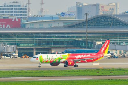 Saigon, Vietnam - Sep 7, 2019. VN-A607 VietJetAir  A321 NEO taxiing on runway of Tan Son Nhat Airport (SGN) in Saigon (Ho Chi Minh City). Editorial