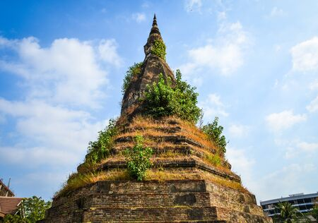 That Dam, ancient black stupa believed to house a mythological Naga serpent in Vientiane, Laos.