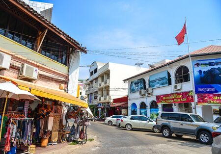 Vientiane, Laos - Jan 29, 2020. Cityscape of old town in Vientiane, Laos. Vientiane is the capital and largest city of Laos, on the banks of the Mekong River.