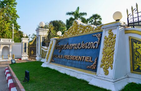 Vientiane, Laos - Jan 29, 2020. President Palace in Vientiane, Laos. The building was first started in 1973, designed by local architect Khamphoung Phonekeo.