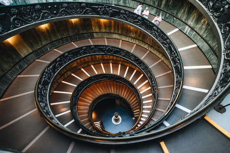 Vatican - Oct 16, 2018. Bramante Staircase in Vatican Museums. The double helix staircase is the famous travel destination of Vatican and Roma.