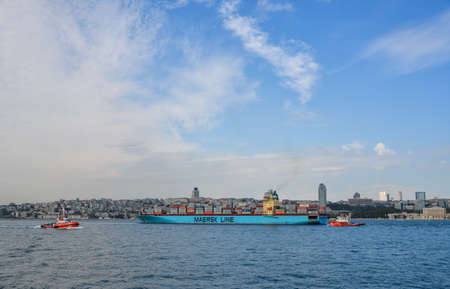 Istanbul, Turkey - Sep 28, 2018. Maersk Line cargo ship on Bosphorus Strait in Istanbul, Turkey. Bosphorus strait separates the European part from the Asian part of Istanbul. Editorial