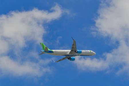 Saigon, Vietnam - Jun 19, 2019. VN-A589 Bamboo Airways Airbus A321 NEO taking-off from Tan Son Nhat Airport (SGN) in Saigon, Vietnam.