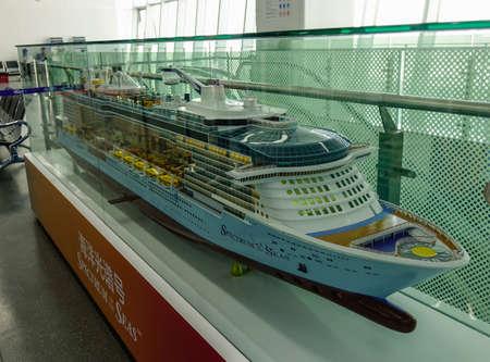 Shanghai, China - Jun 3, 2019. Model of Royal Caribbean Cruise Ship Spectrum of the Seas for display in Shanghai Sea Port.