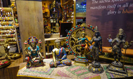 New Delhi, India - Oct 3, 2017. Souvenir shop at Indira Gandhi Airport (DEL) in New Delhi, India. It was the 12th busiest airport in the world by passenger traffic.